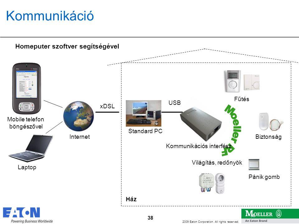 38 2009 Eaton Corporation. All rights reserved. 38 Kommunikáció Standard PC USB Internet xDSL Ház Mobile telefon böngészővel Laptop Világítás, redőnyö