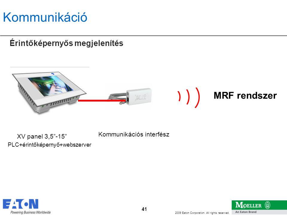 """41 2009 Eaton Corporation. All rights reserved. 41 Kommunikáció Érintőképernyős megjelenítés MRF rendszer XV panel 3,5""""-15"""" Kommunikációs interfész PL"""