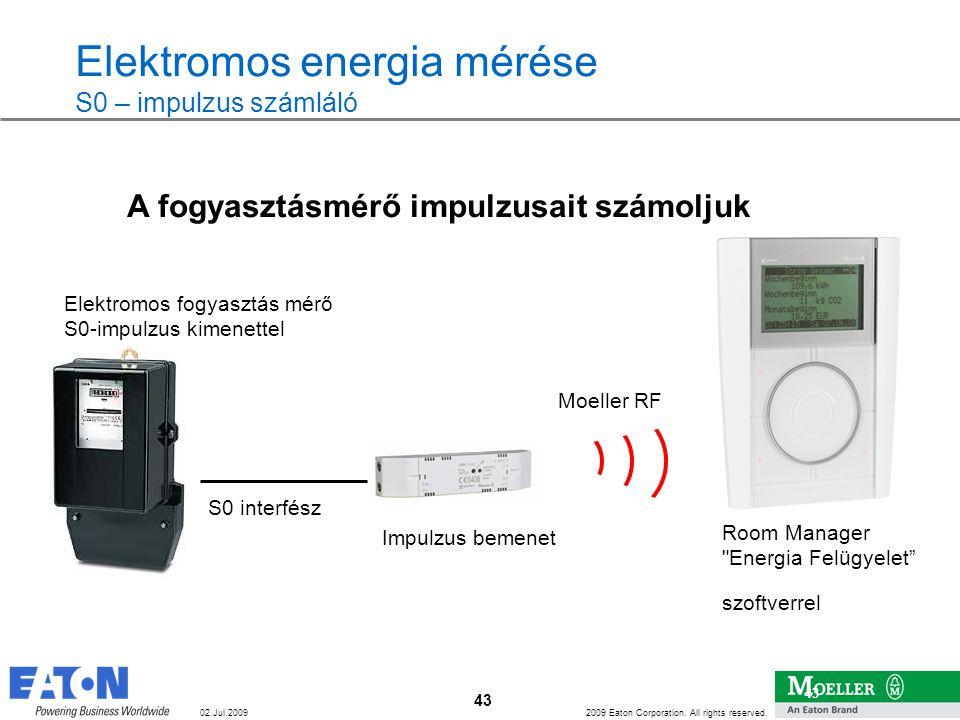 43 2009 Eaton Corporation. All rights reserved. 43 02.Jul.2009 Elektromos energia mérése S0 – impulzus számláló S0 interfész Elektromos fogyasztás mér