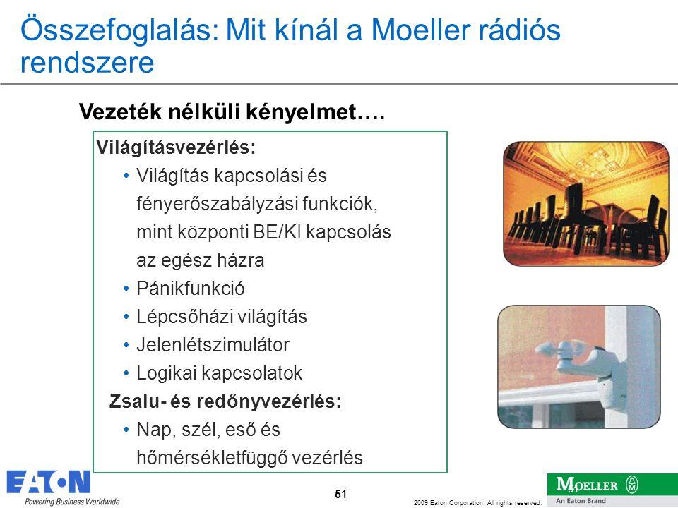 51 2009 Eaton Corporation. All rights reserved. 51 Összefoglalás: Mit kínál a Moeller rádiós rendszere Világításvezérlés: •Világítás kapcsolási és fén