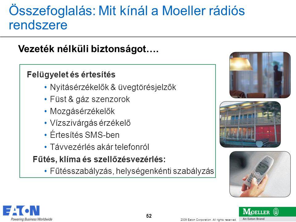 52 2009 Eaton Corporation. All rights reserved. 52 Összefoglalás: Mit kínál a Moeller rádiós rendszere Vezeték nélküli biztonságot…. Felügyelet és ért