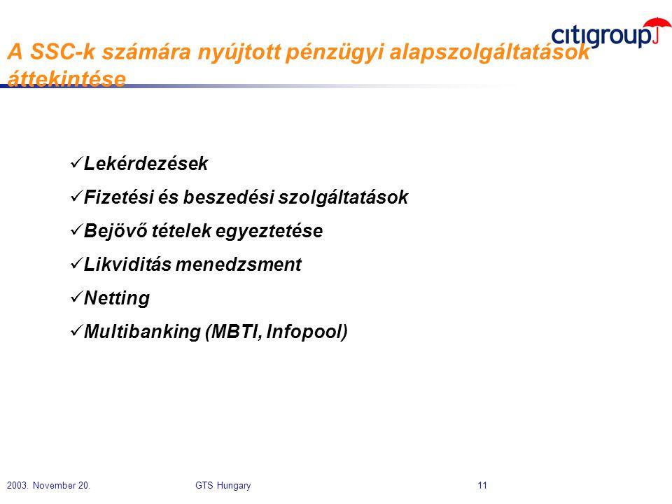 2003. November 20. GTS Hungary 11 A SSC-k számára nyújtott pénzügyi alapszolgáltatások áttekintése  Lekérdezések  Fizetési és beszedési szolgáltatás
