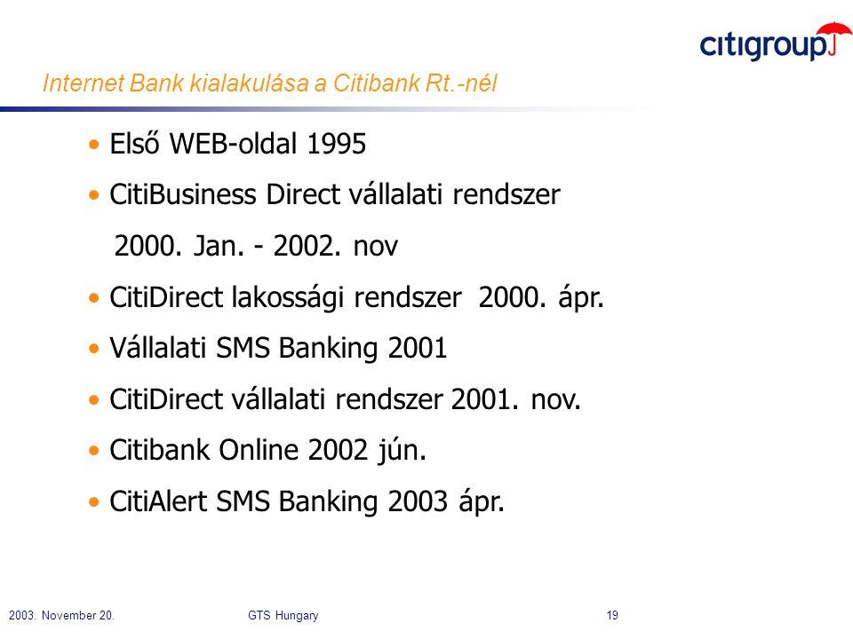 2003. November 20. GTS Hungary 19 Internet Bank kialakulása a Citibank Rt.-nél • Első WEB-oldal 1995 • CitiBusiness Direct vállalati rendszer 2000. Ja
