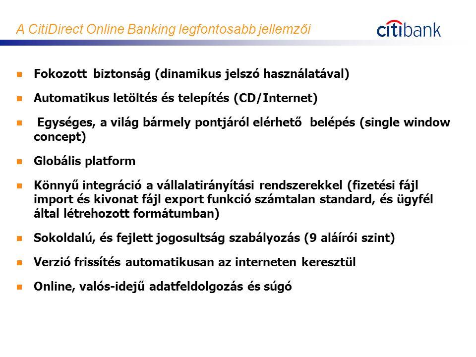 A CitiDirect Online Banking legfontosabb jellemzői  Fokozott biztonság (dinamikus jelszó használatával)  Automatikus letöltés és telepítés (CD/Inter