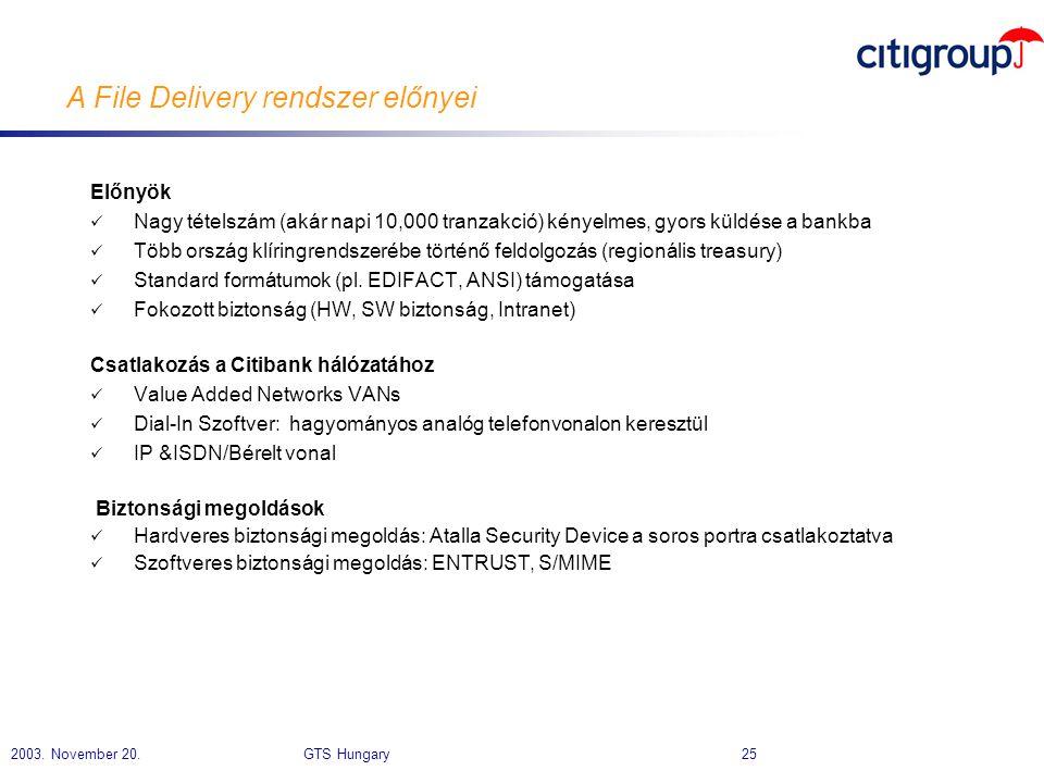 2003. November 20. GTS Hungary 25 A File Delivery rendszer előnyei Előnyök  Nagy tételszám (akár napi 10,000 tranzakció) kényelmes, gyors küldése a b