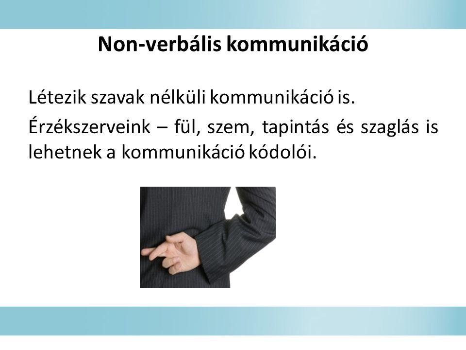 Non-verbális kommunikáció Létezik szavak nélküli kommunikáció is.