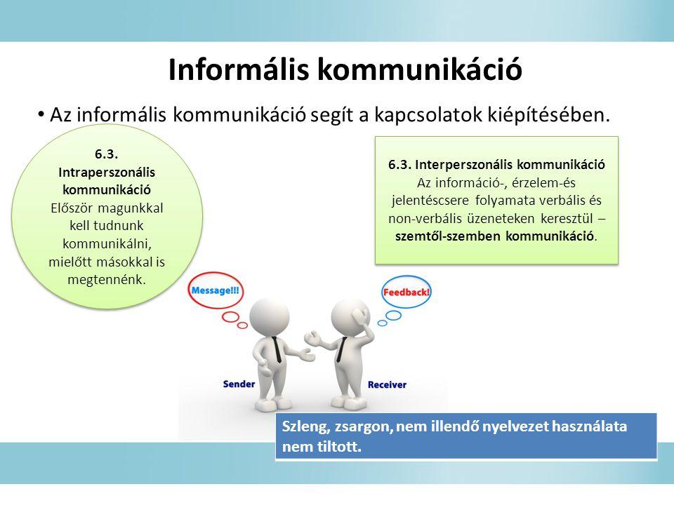 Informális kommunikáció • Az informális kommunikáció segít a kapcsolatok kiépítésében.