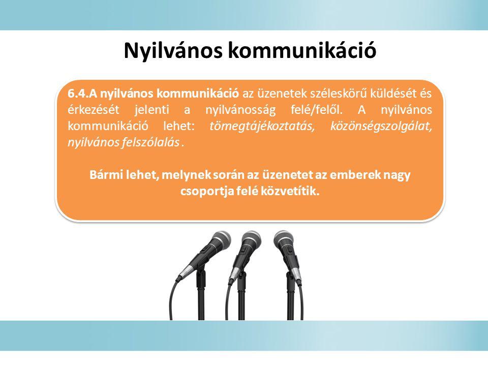 6.4.A nyilvános kommunikáció az üzenetek széleskörű küldését és érkezését jelenti a nyilvánosság felé/felől.