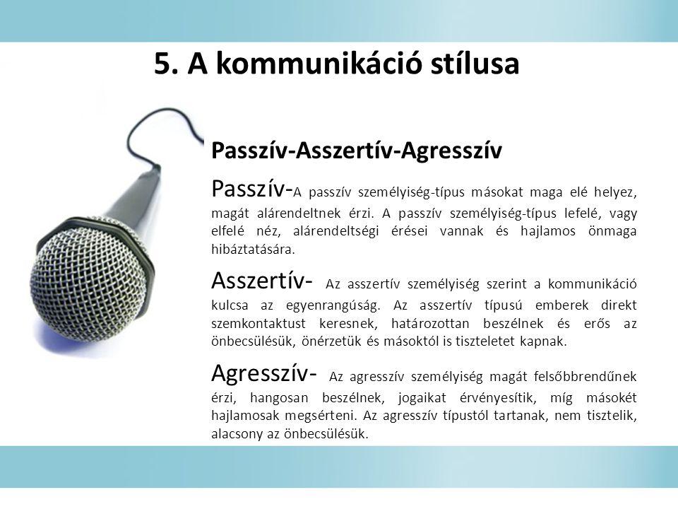 5. A kommunikáció stílusa Passzív-Asszertív-Agresszív Passzív- A passzív személyiség-típus másokat maga elé helyez, magát alárendeltnek érzi. A passzí