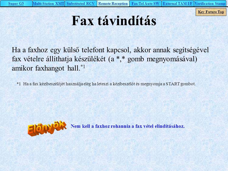 Fax távindítás Ha a faxhoz egy külső telefont kapcsol, akkor annak segítségével fax vételre állíthatja készülékét (a *,* gomb megnyomásával) amikor fa
