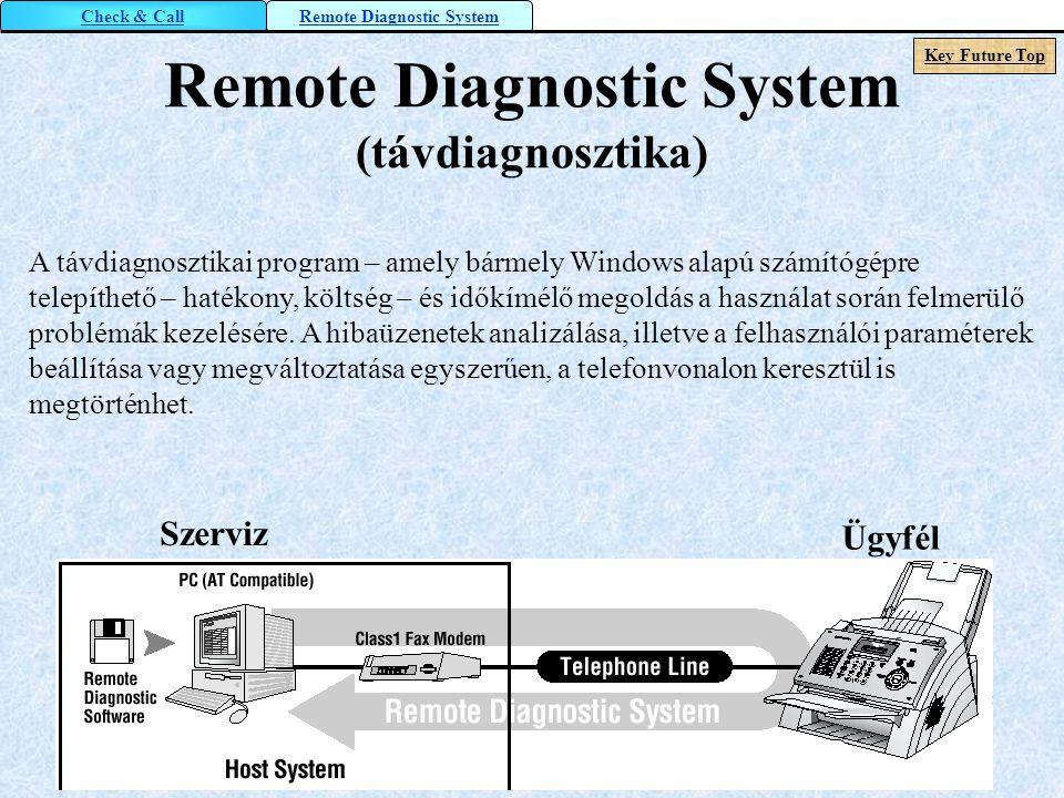 Remote Diagnostic System (távdiagnosztika) A távdiagnosztikai program – amely bármely Windows alapú számítógépre telepíthető – hatékony, költség – és
