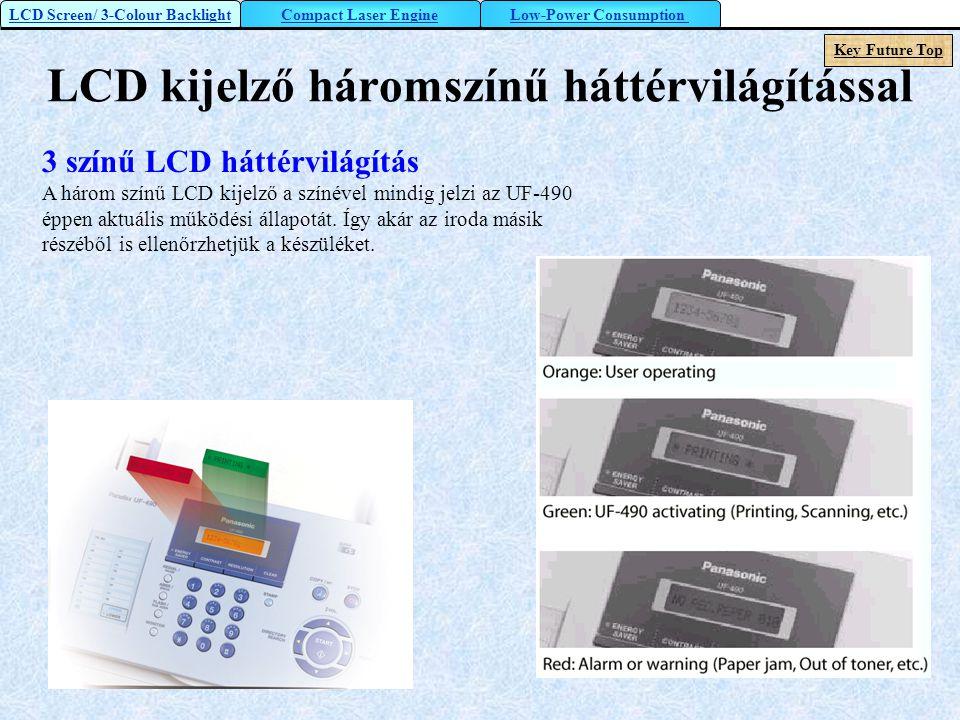 LCD kijelző háromszínű háttérvilágítással 3 színű LCD háttérvilágítás A három színű LCD kijelző a színével mindig jelzi az UF-490 éppen aktuális működ
