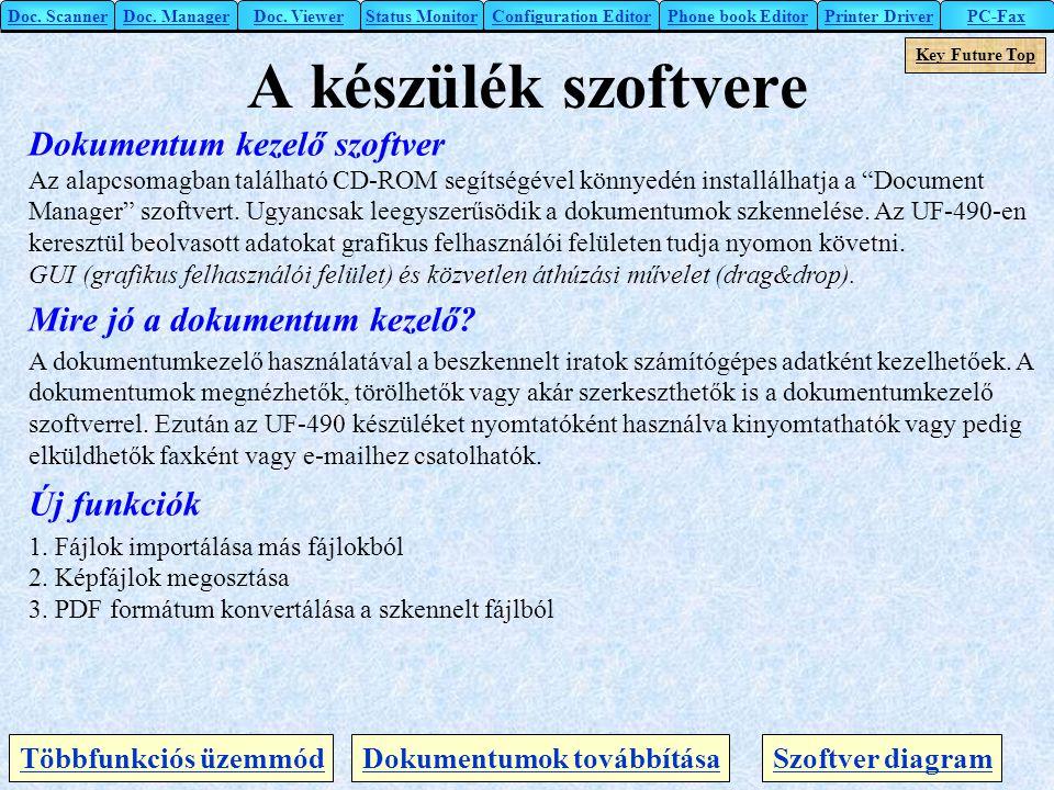 A készülék szoftvere Doc. ScannerDoc. Manager Key Future Top Dokumentum kezelő szoftver Az alapcsomagban található CD-ROM segítségével könnyedén insta