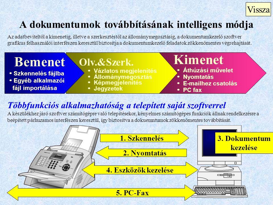 Kimenet  Áthúzási művelet  Nyomtatás  E-mailhez csatolás  PC fax A dokumentumok továbbításának intelligens módja Vissza Az adatbeviteltől a kimene