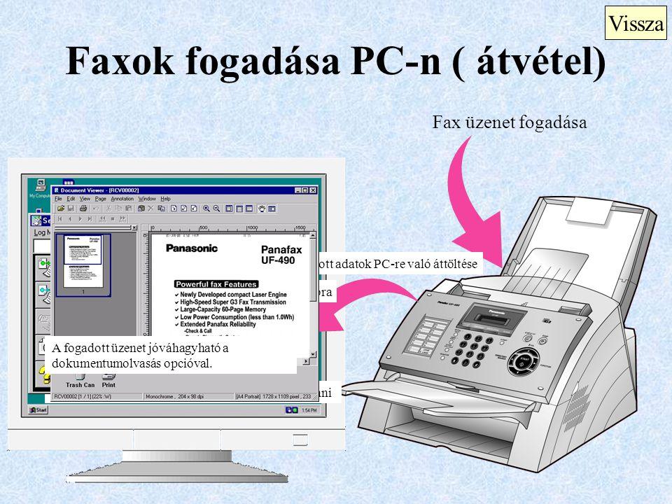 Faxok fogadása PC-n ( átvétel) Vissza Fax üzenet fogadása A fogadott adatok PC-re való áttöltése Fogadás figyelmeztető dialógus ablak fog megjelenni K