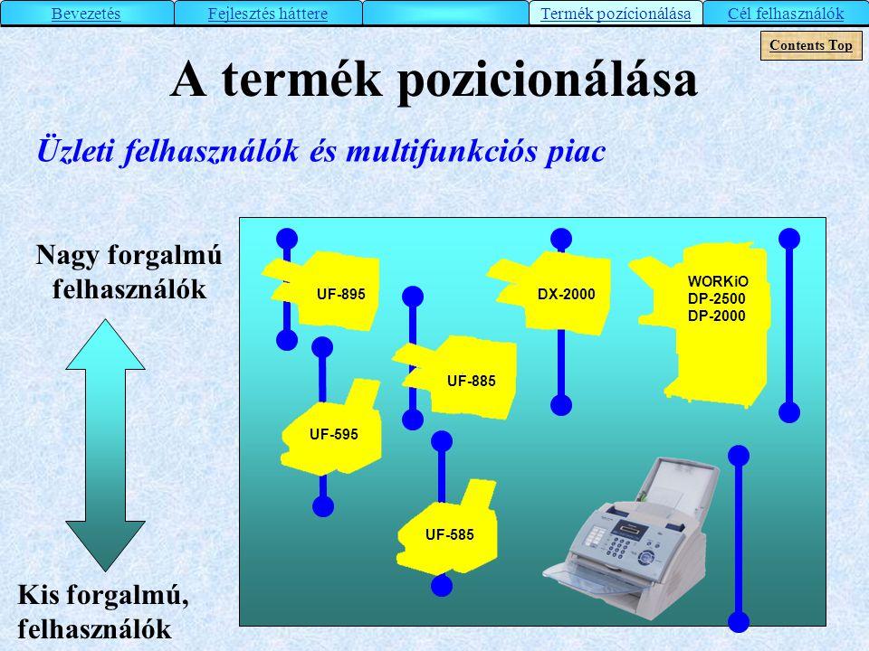 A termék pozicionálása Nagy forgalmú felhasználók Kis forgalmú, felhasználók Üzleti felhasználók és multifunkciós piac WORKiO DP-2500 DP-2000 DX-2000U