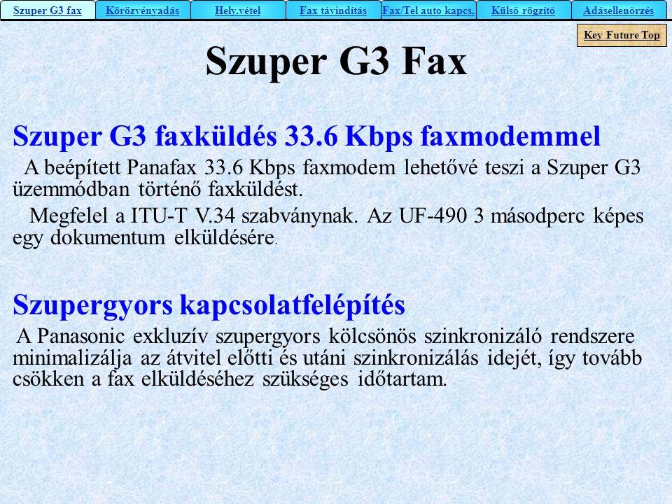 Szuper G3 faxküldés 33.6 Kbps faxmodemmel A beépített Panafax 33.6 Kbps faxmodem lehetővé teszi a Szuper G3 üzemmódban történő faxküldést. Megfelel a
