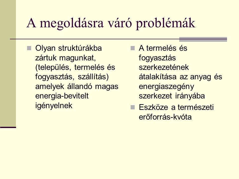 A megoldásra váró problémák  Olyan struktúrákba zártuk magunkat, (település, termelés és fogyasztás, szállítás) amelyek állandó magas energia-bevitelt igényelnek  A termelés és fogyasztás szerkezetének átalakítása az anyag és energiaszegény szerkezet irányába  Eszköze a természeti erőforrás-kvóta