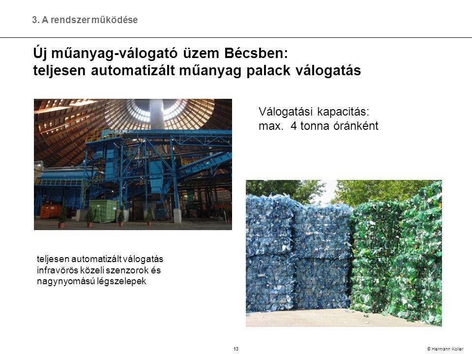 13 © Hermann Koller Új műanyag-válogató üzem Bécsben: teljesen automatizált műanyag palack válogatás Válogatási kapacitás: max.
