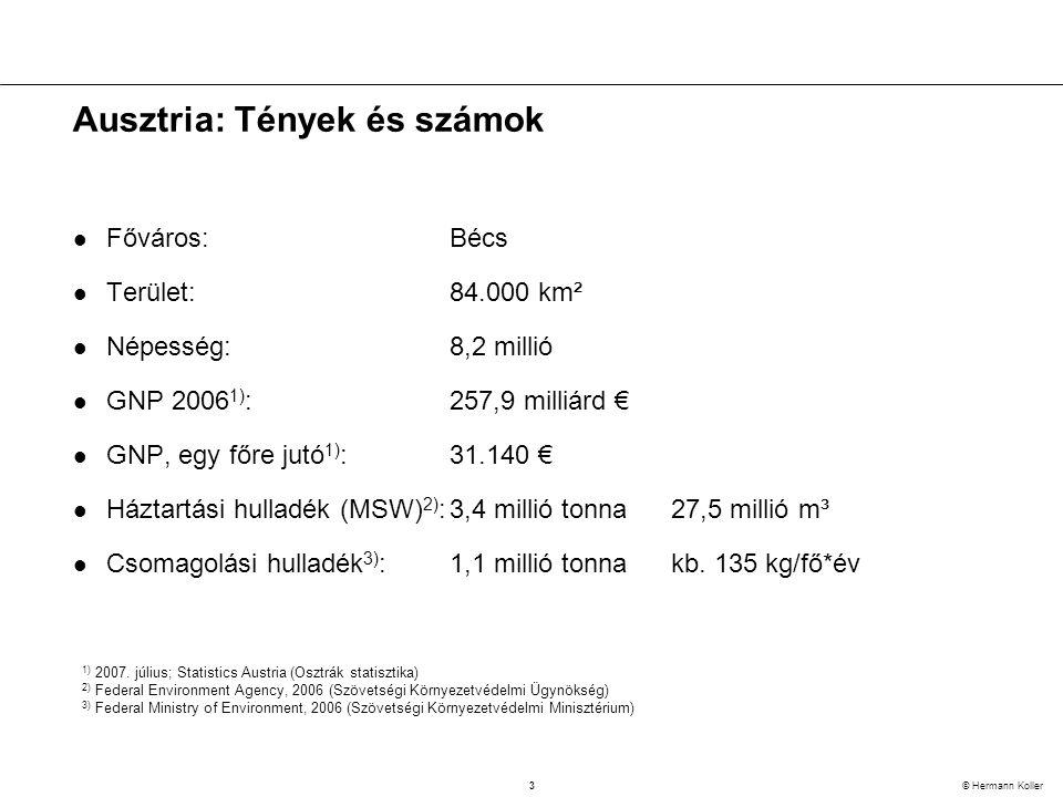 3 © Hermann Koller Ausztria: Tények és számok  Főváros:Bécs  Terület:84.000 km²  Népesség:8,2 millió  GNP 2006 1) :257,9 milliárd €  GNP, egy főre jutó 1) :31.140 €  Háztartási hulladék (MSW) 2) :3,4 millió tonna27,5 millió m³  Csomagolási hulladék 3) :1,1 millió tonnakb.