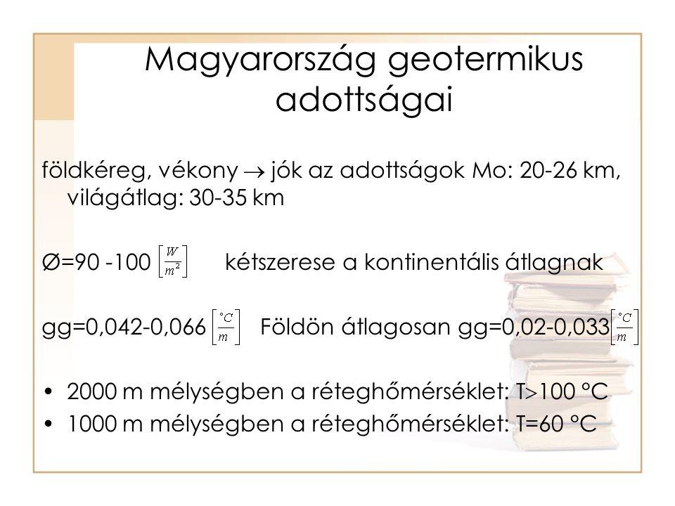 Magyarország geotermikus adottságai földkéreg, vékony  jók az adottságok Mo: 20-26 km, világátlag: 30-35 km Ø=90 -100 kétszerese a kontinentális átlagnak gg=0,042-0,066 Földön átlagosan gg=0,02-0,033 •2000 m mélységben a réteghőmérséklet: T  100 °C •1000 m mélységben a réteghőmérséklet: T=60 °C