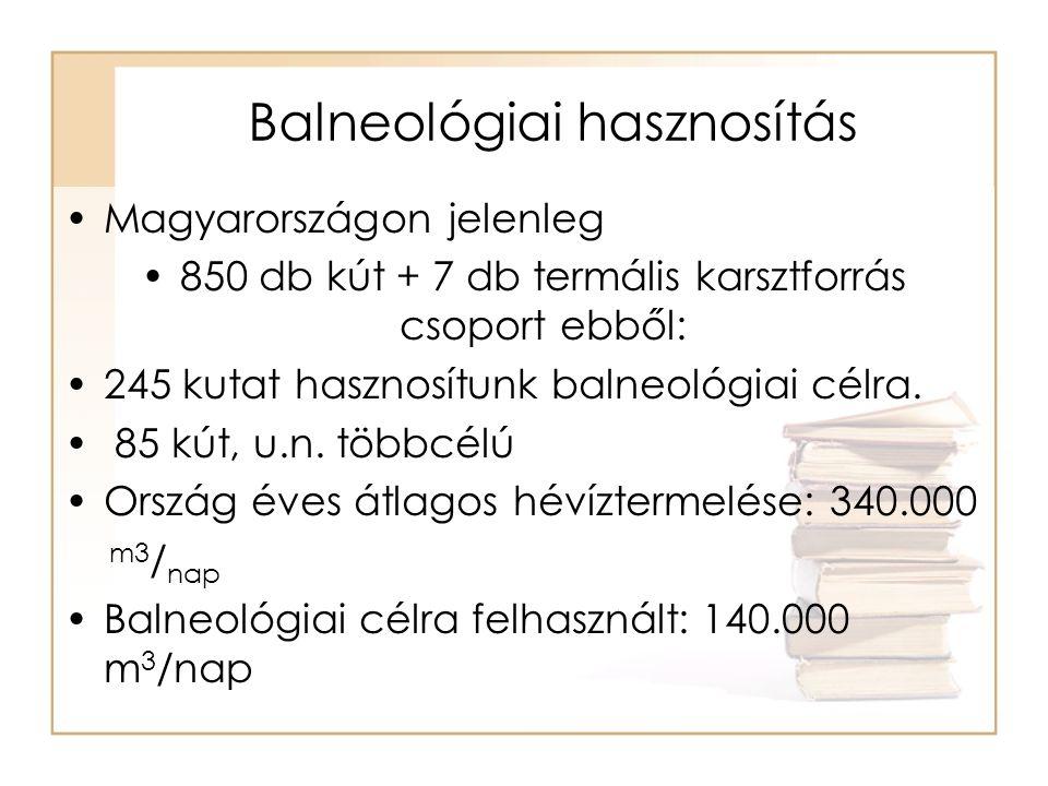 Balneológiai hasznosítás •Magyarországon jelenleg •850 db kút + 7 db termális karsztforrás csoport ebből: •245 kutat hasznosítunk balneológiai célra.
