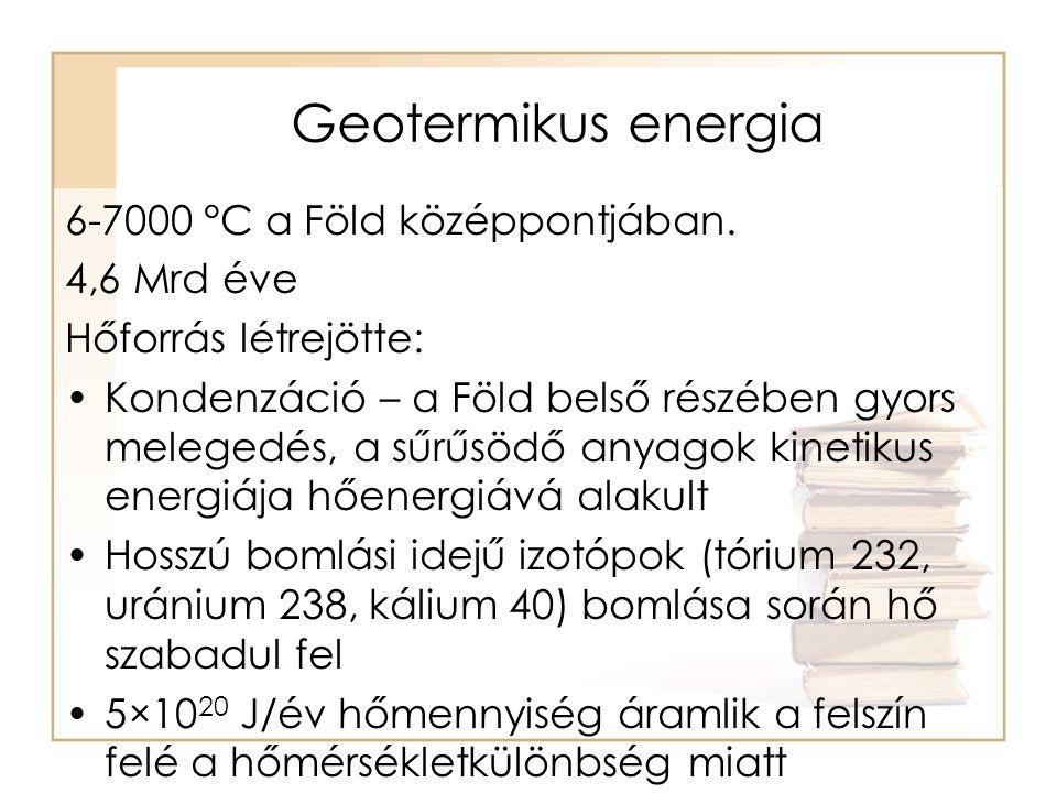 Alapfogalmak •geotermikus gradiens (gg) [ 0 C/m] az egységnyi mélység növekedéshez tartozó hőmérséklet növekedés •kőzet hővezető képessége (λ) [W/m ̊ C] 1 m 2 felületen, 1 m vastag rétegen 1 s alatt 1 0 C hőmérséklet különbség hatására átáramló hő mennyisége •hőáram, hőfluxus (Ø) a hőáramra merőleges 1m 2 felületen 1s alatt átáramló hőenergia