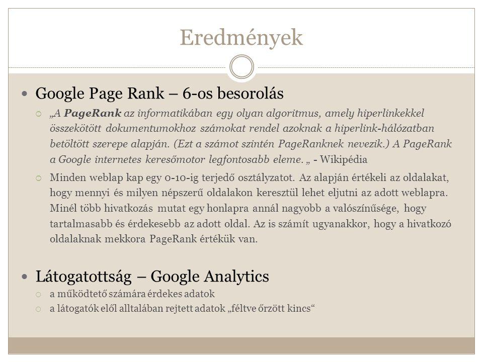 """Eredmények  Google Page Rank – 6-os besorolás  """"A PageRank az informatikában egy olyan algoritmus, amely hiperlinkekkel összekötött dokumentumokhoz számokat rendel azoknak a hiperlink-hálózatban betöltött szerepe alapján."""