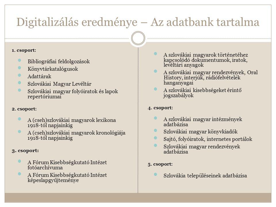 Digitalizálás eredménye – Az adatbank tartalma 1.