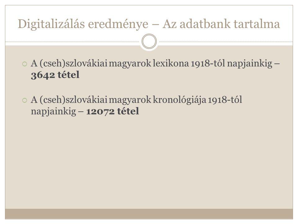 Digitalizálás eredménye – Az adatbank tartalma  A (cseh)szlovákiai magyarok lexikona 1918-tól napjainkig – 3642 tétel  A (cseh)szlovákiai magyarok kronológiája 1918-tól napjainkig – 12072 tétel