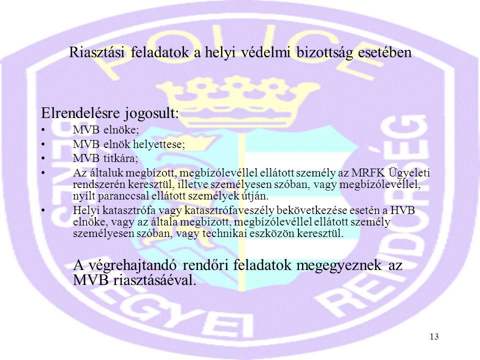 13 Riasztási feladatok a helyi védelmi bizottság esetében Elrendelésre jogosult: •MVB elnöke; •MVB elnök helyettese; •MVB titkára; •Az általuk megbízo