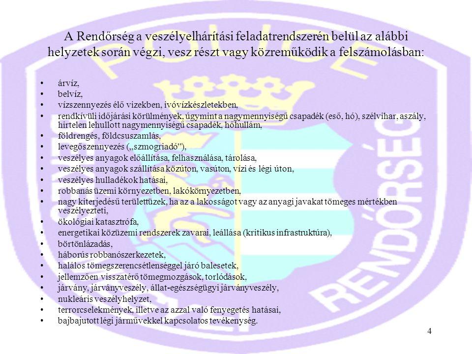 4 A Rendőrség a veszélyelhárítási feladatrendszerén belül az alábbi helyzetek során végzi, vesz részt vagy közreműködik a felszámolásban: •árvíz, •bel