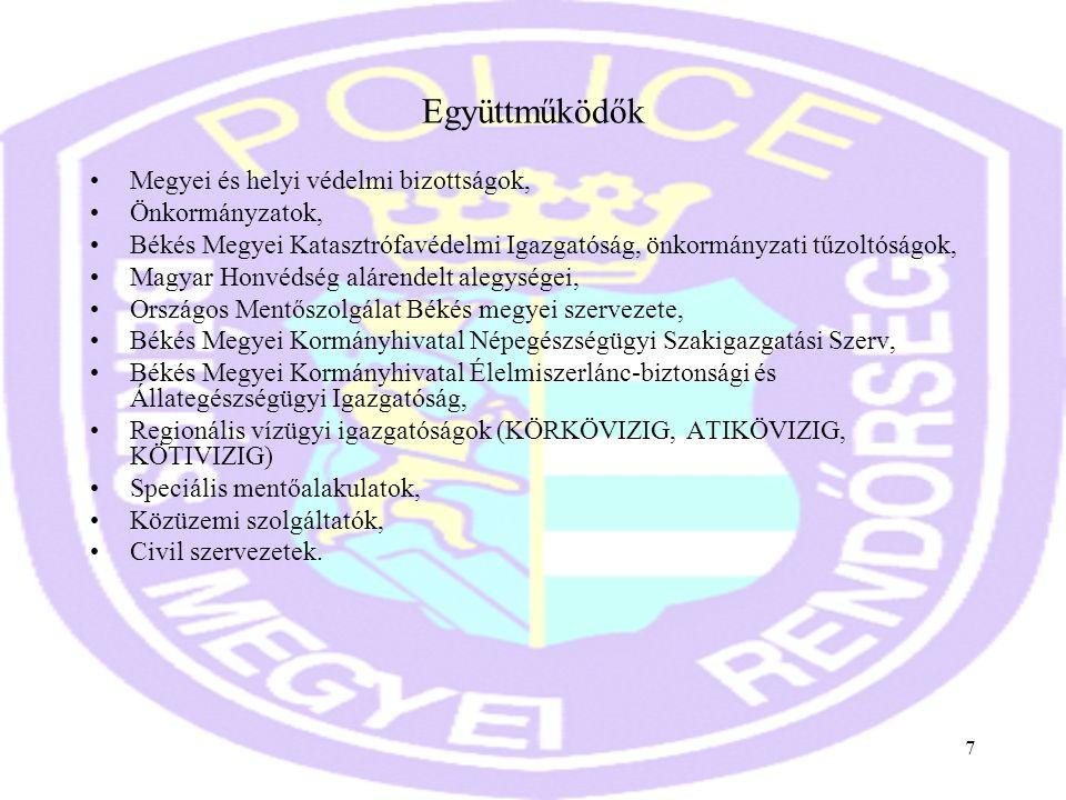 7 Együttműködők •Megyei és helyi védelmi bizottságok, •Önkormányzatok, •Békés Megyei Katasztrófavédelmi Igazgatóság, önkormányzati tűzoltóságok, •Magy