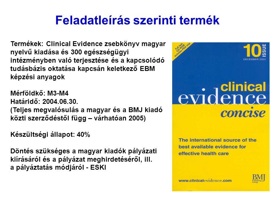 Feladatleírás szerinti termék Termékek: Clinical Evidence zsebkönyv magyar nyelvű kiadása és 300 egészségügyi intézményben való terjesztése és a kapcsolódó tudásbázis oktatása kapcsán keletkező EBM képzési anyagok Mérföldkő: M3-M4 Határidő: 2004.06.30.