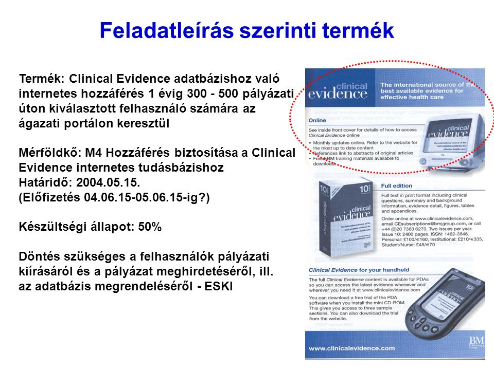 Feladatleírás szerinti termék Termék: Clinical Evidence adatbázishoz való internetes hozzáférés 1 évig 300 - 500 pályázati úton kiválasztott felhasználó számára az ágazati portálon keresztül Mérföldkő: M4 Hozzáférés biztosítása a Clinical Evidence internetes tudásbázishoz Határidő: 2004.05.15.