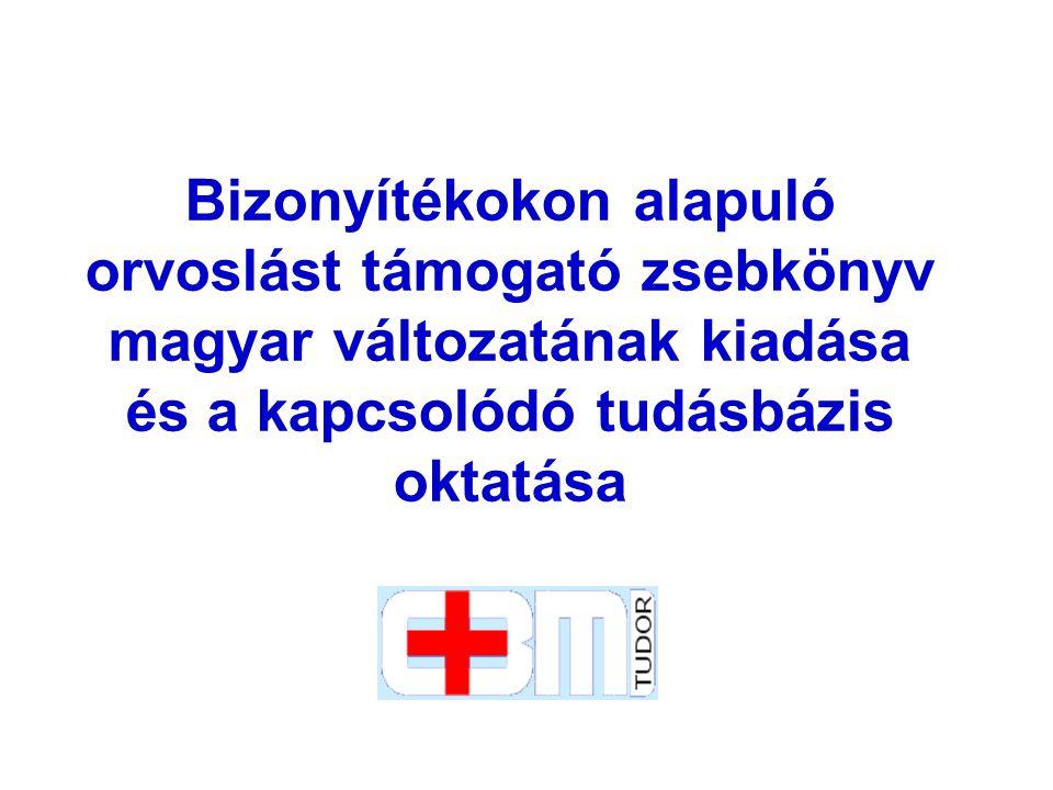 Cél A projekt alapvető célja magyar egészségügyi közintézmények ingyenes hozzáférésének biztosítása rendszeresen frissített tudományos bizonyítékokhoz és evidenciákon alapuló klinikai információkhoz, és ez által a bizonyítékokon alapuló egészségügyi ellátás meghonosodásának támogatása.