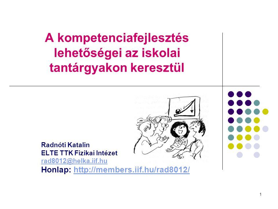 1 A kompetenciafejlesztés lehetőségei az iskolai tantárgyakon keresztül Radnóti Katalin ELTE TTK Fizikai Intézet rad8012@helka.iif.hu Honlap: http://m