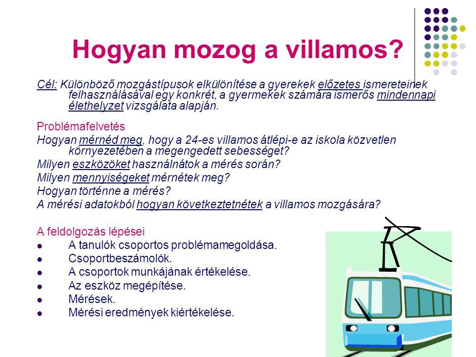4 Hogyan mozog a villamos? Cél: Különböző mozgástípusok elkülönítése a gyerekek előzetes ismereteinek felhasználásával egy konkrét, a gyermekek számár