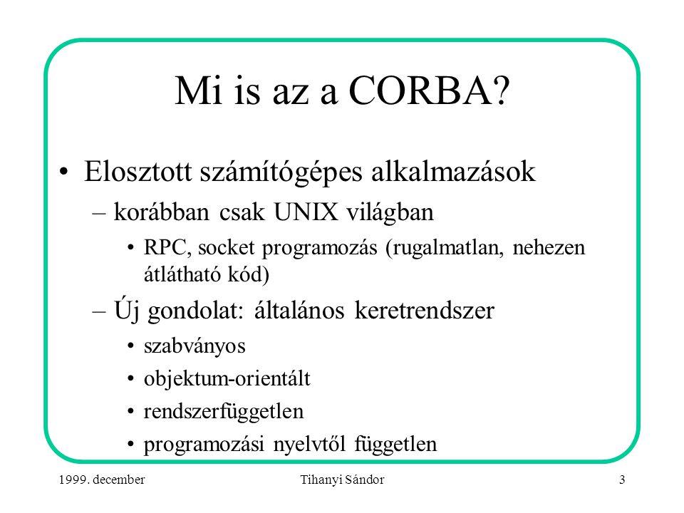 1999.decemberTihanyi Sándor34 Példa alkalmazás: Hello World.