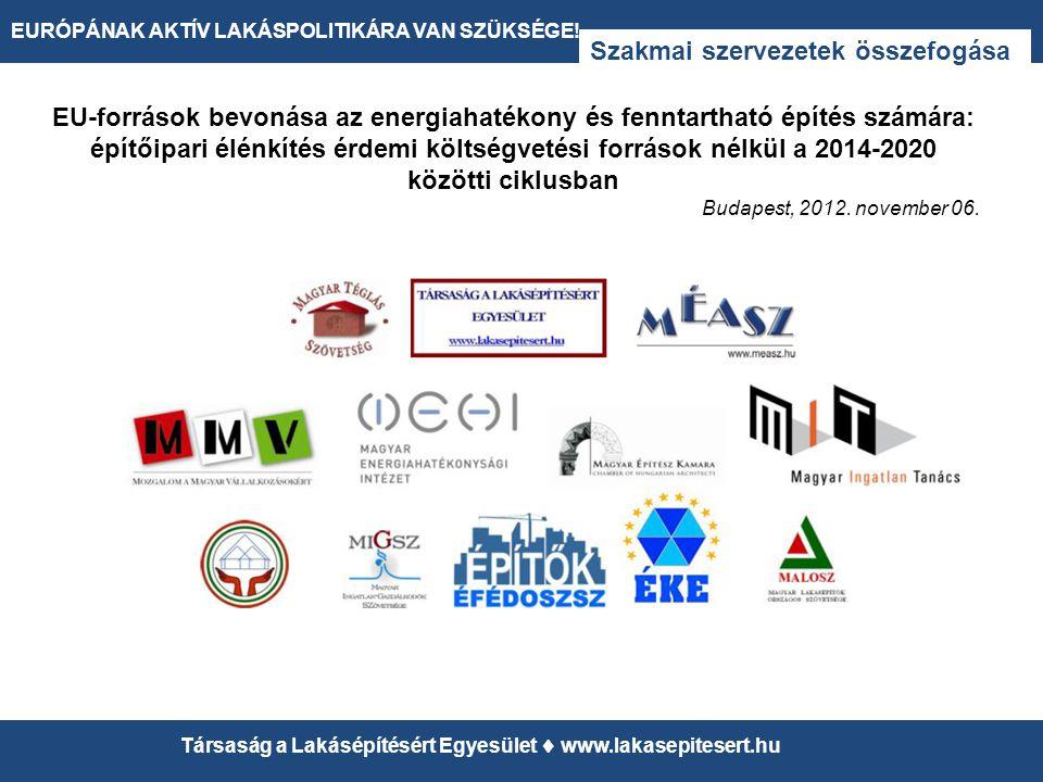 12 EURÓPÁNAK AKTÍV LAKÁSPOLITIKÁRA VAN SZÜKSÉGE! Társaság a Lakásépítésért Egyesület  www.lakasepitesert.hu Szakmai szervezetek összefogása EU-forrás