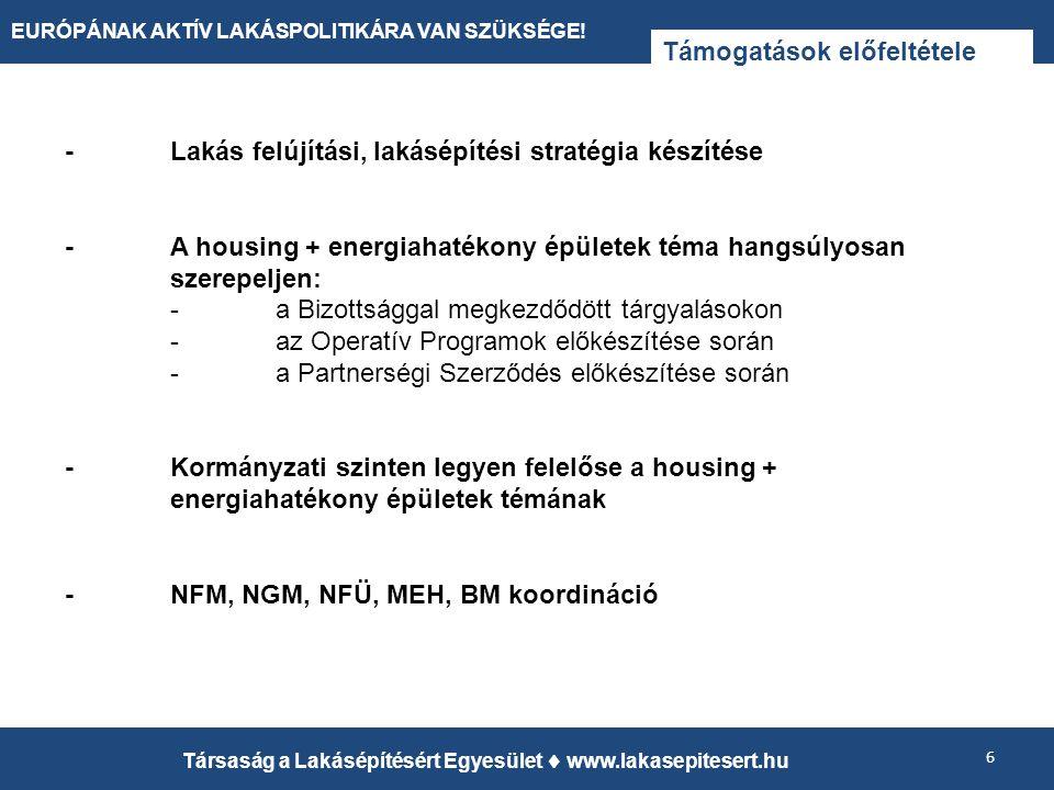 Támogatások előfeltétele 6 Társaság a Lakásépítésért Egyesület  www.lakasepitesert.hu EURÓPÁNAK AKTÍV LAKÁSPOLITIKÁRA VAN SZÜKSÉGE! -Lakás felújítási
