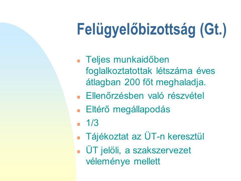 Felügyelőbizottság (Gt.)  Teljes munkaidőben foglalkoztatottak létszáma éves átlagban 200 főt meghaladja.  Ellenőrzésben való részvétel  Eltérő meg