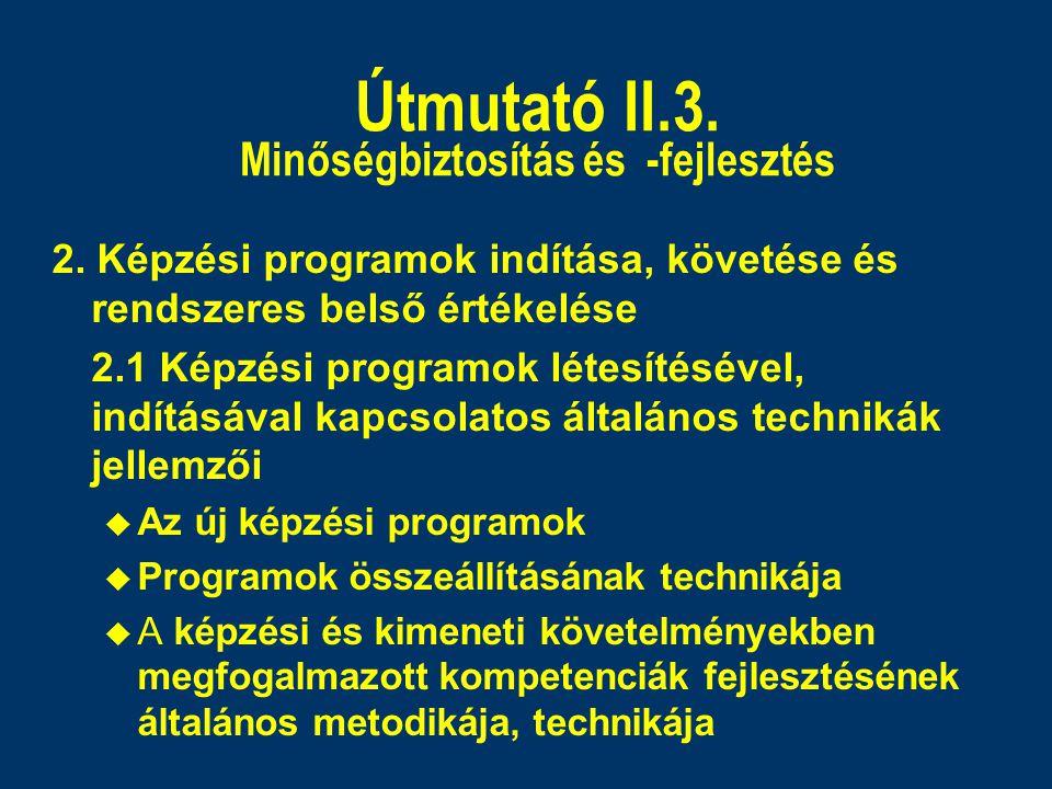 Útmutató II.3. Minőségbiztosítás és -fejlesztés 2. Képzési programok indítása, követése és rendszeres belső értékelése 2.1 Képzési programok létesítés