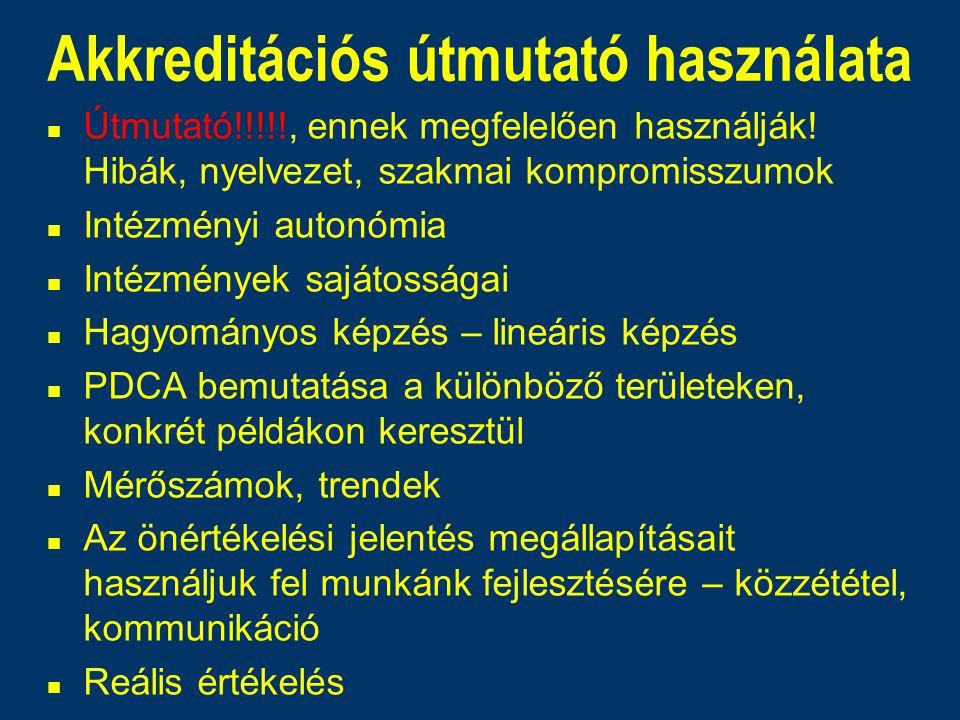 Akkreditációs útmutató használata n Útmutató!!!!!, ennek megfelelően használják! Hibák, nyelvezet, szakmai kompromisszumok n Intézményi autonómia n In