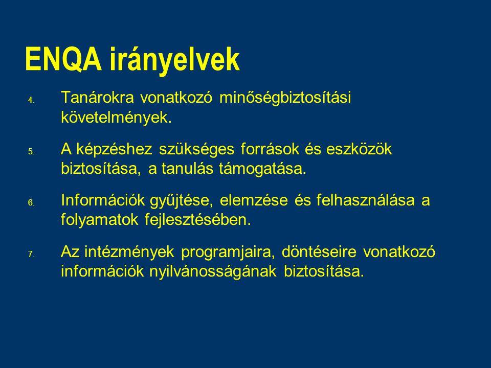 ENQA irányelvek 4. Tanárokra vonatkozó minőségbiztosítási követelmények. 5. A képzéshez szükséges források és eszközök biztosítása, a tanulás támogatá