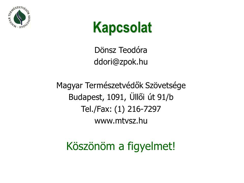 Kapcsolat Dönsz Teodóra ddori@zpok.hu Magyar Természetvédők Szövetsége Budapest, 1091, Üllői út 91/b Tel./Fax: (1) 216-7297 www.mtvsz.hu Köszönöm a figyelmet!