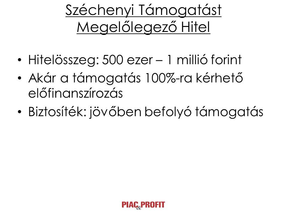Széchenyi Támogatást Megelőlegező Hitel • Hitelösszeg: 500 ezer – 1 millió forint • Akár a támogatás 100%-ra kérhető előfinanszírozás • Biztosíték: jövőben befolyó támogatás