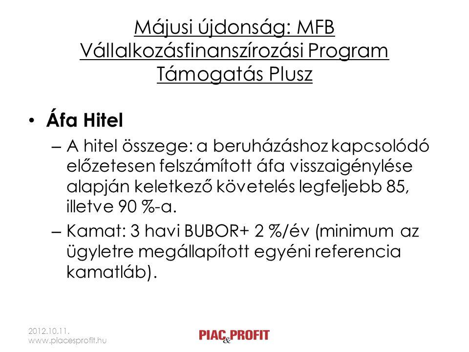 Májusi újdonság: MFB Vállalkozásfinanszírozási Program Támogatás Plusz • Áfa Hitel – A hitel összege: a beruházáshoz kapcsolódó előzetesen felszámított áfa visszaigénylése alapján keletkező követelés legfeljebb 85, illetve 90 %-a.