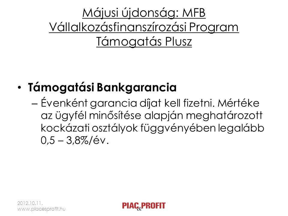 Májusi újdonság: MFB Vállalkozásfinanszírozási Program Támogatás Plusz • Támogatási Bankgarancia – Évenként garancia díjat kell fizetni.