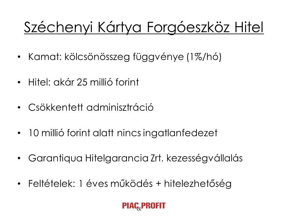 Széchenyi Kártya Forgóeszköz Hitel • Kamat: kölcsönösszeg függvénye (1%/hó) • Hitel: akár 25 millió forint • Csökkentett adminisztráció • 10 millió forint alatt nincs ingatlanfedezet • Garantiqua Hitelgarancia Zrt.